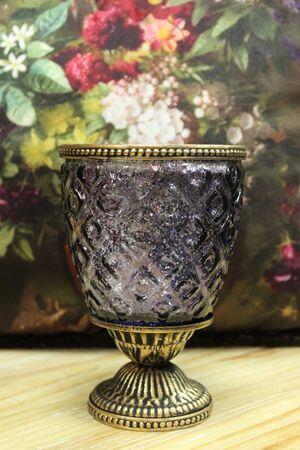 Fialový rustikálny svietnik na podstavci 16cm