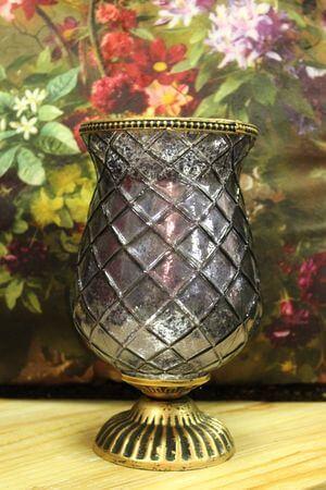 Fialový rustikálny svietnik tvaru čaše 22cm