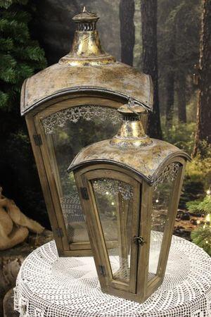 Hnedozlaté lampáše s plechovou strechou 2-set 74cm