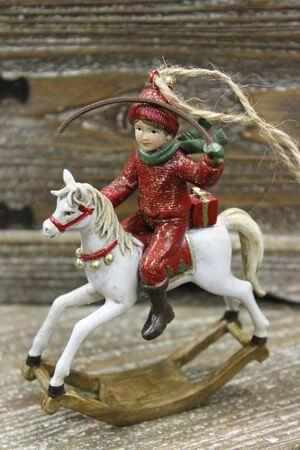 Červeno odetý chlapček na bielom koni 4-set 12cm
