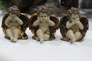 Krémovo zlaté sošky anjelov 3-set