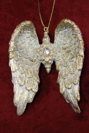 Zlaté patinované vianočné závesné krídla