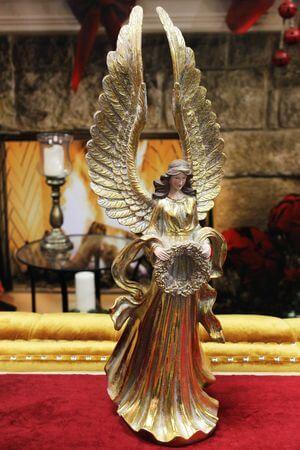 Zlatý dekoračný anjel 60cm