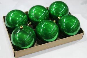Zelené lesklé plastové gule 6ks 10cm