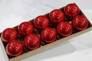 Červené lesklé plastové gule 10ks 5cm