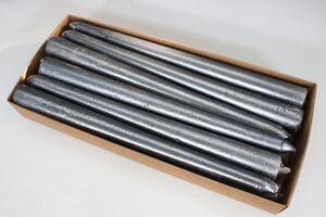 Šedé metalické kónické sviečky 12ks 24cm