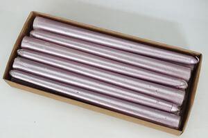 Bledo fialové metalické kónické sviečky 12ks 24cm