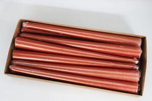 Medené metalické kónické sviečky 12ks 24cm