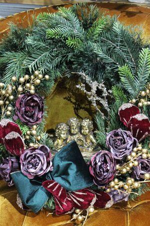Bordovo zlatý vianočný  veniec na dvere 60cm