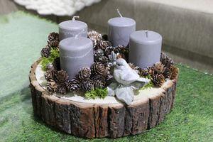 Adventný prírodný svietnik 30 cm