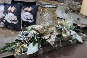 Zlatý vianočný svietnik na stôl 80 cm