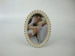 Krémový svadobný oválny fotorámik 10x15cm