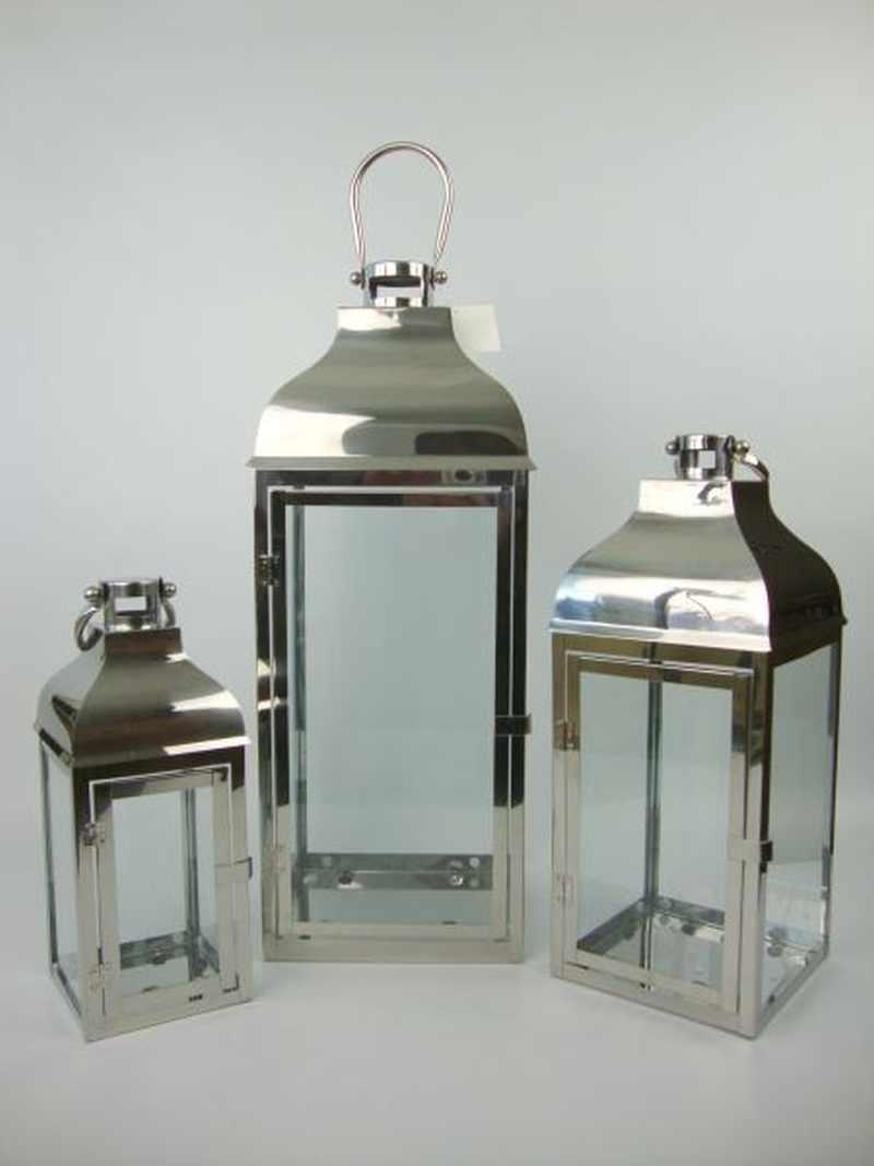 Strieborné kovové moderné lampáše 3-set