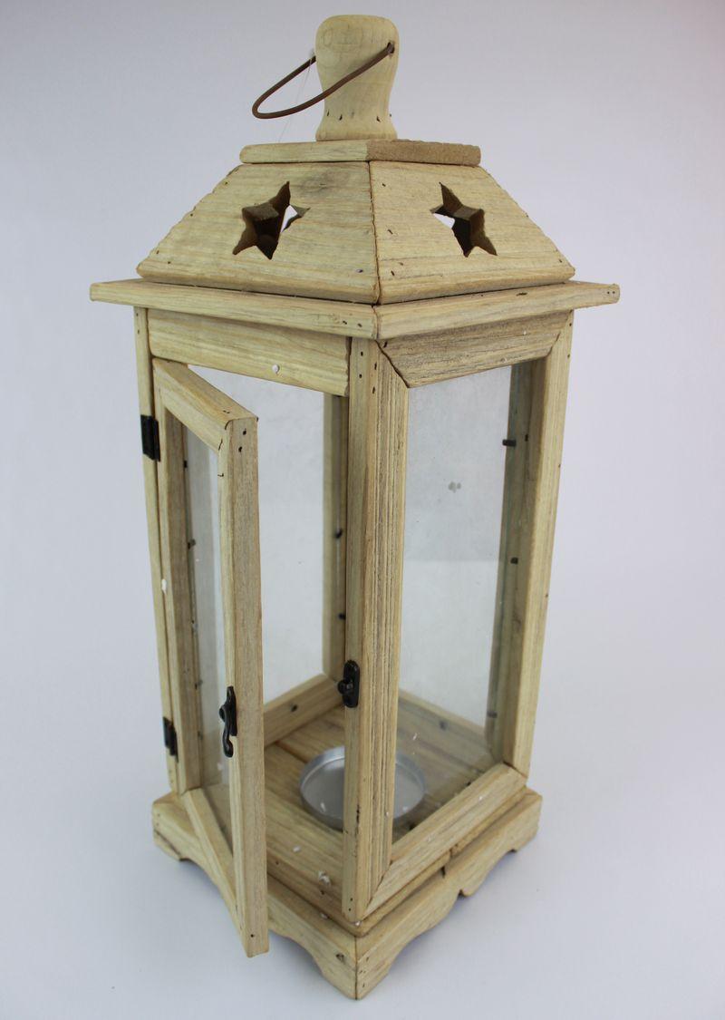Prírodný drevený lampáš 54cm