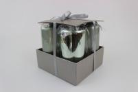 Zelené sviečky v tvare valca vysoké 4 ks