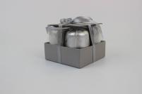 Sivé a biele adventné sviečky v tvare valca 5x7cm