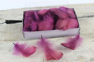Ružové dekoračné perie v rôznych odtieňoch