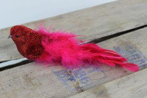 Červený trblietavý vtáčik na štipci 21cm