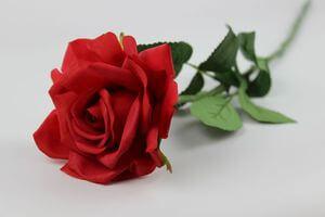Červená umelá ruža na stonke s listami 66cm
