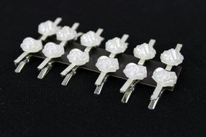 Svadobná sponka s bielou ružou