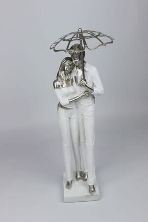 Bielo strieborná dekoračná sošky ženy s mužom 37cm