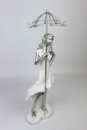Bielo strieborná figúrka ženy s dáždnikom 43cm