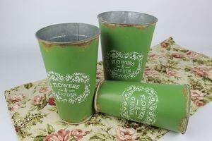 Zelené plechové vintage vázy 3-set