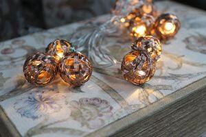 Medená vianočná svetelná reťaz 160cm  z 10 klbiek