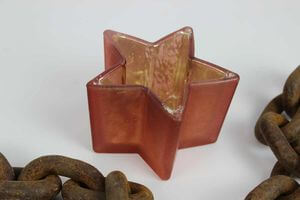 Oranžový sklenený svietnik na čajovú sviečku