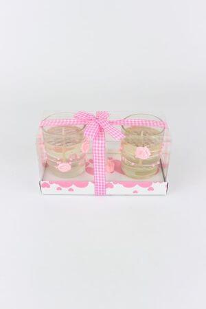 Ružové gelové sviečky 2 ks