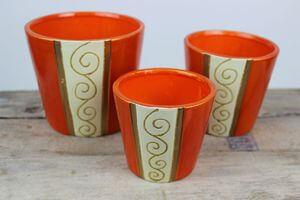 Oranžové keramické nádoby s ornamentom 3-set