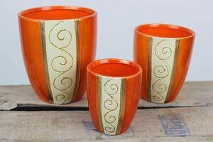 Oranžové zaoblené vianočné kvetináče 3-set