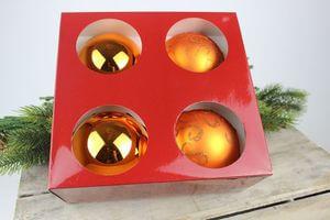 Medené sklenené vzorované vianočné gule 4ks 10cm