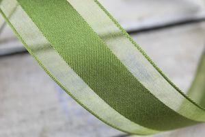 Zelená stuha s priehľadným okrajom 4cm x 10m