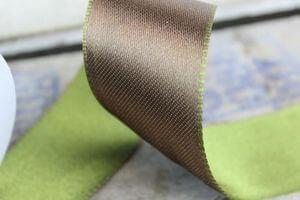 Hnedo zelená obojstranná saténová stuha 4cm x 10m