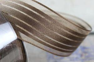 Hnedá pásiková saténová stuha 4 cm x 10 m