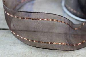 Hnedá priehľadná stuha s medeným vzorom 4 cm x 10m