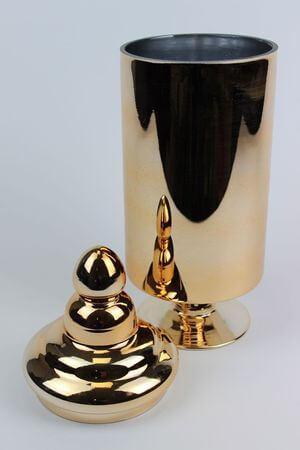 Zlatá lesklá sklenená dóza na podstavci 35cm