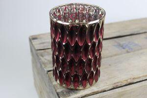 Bordovo strieborný sklenený svietnik na stôl 14cm