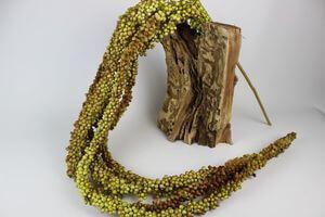 Zeleno hnedý umelý guličkový strapec 180cm