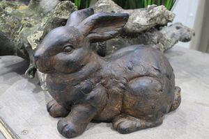 Hnedý záhradný dekoračný zajac 34cm