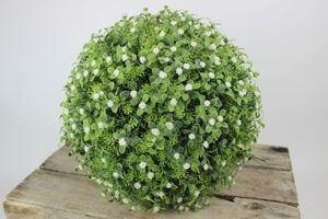 Zelená umelá buxusová guľa s kvetinkami 30cm
