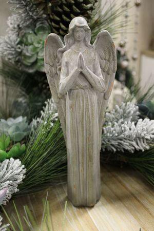 Sivá keramická soška anjela 25cm