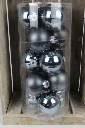 Modré sklenené vianočné gule 8 cm 15ks