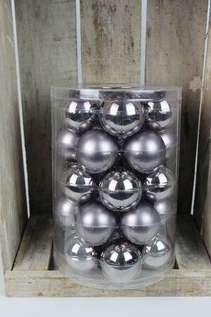 Sivé sklenené vianočné gule 5,7 cm 30ks