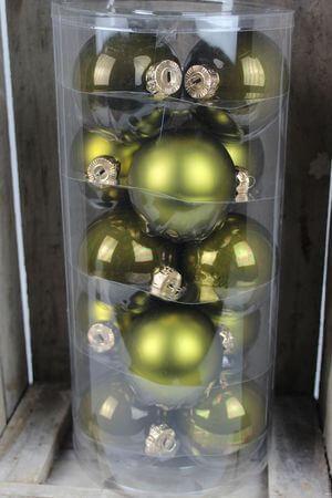 Zelené sklenené vianočné gule 8 cm 15 ks