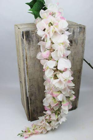 Krémovo ružová umelá previsnutá vistéria 162cm