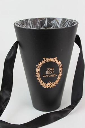 Čierny flower box v tvare kvetináča 20cm