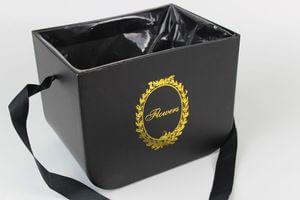 Čierny hranatý flower box so stužkou