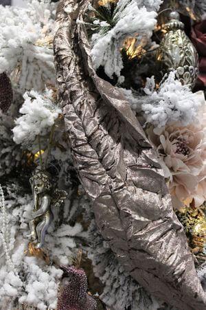 Staroružová krčená zamatová stuha šírka 12cm